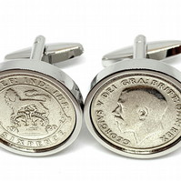 1925 Sixpence Cufflinks 95th birthday. Original sixpence coins Great gift from 1
