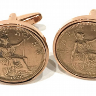 88th Birthday 1932 Farthing Coin Cufflinks - 1932 88th birthday boxed Roseg