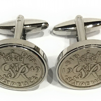 1948 Sixpence Cufflinks 72nd birthday. Original sixpence coins Great gift from