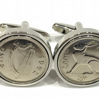 1962 Irish Threepence coin cufflinks - Great gift idea 1962 3d Irish threepence