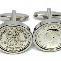 Sixpence for luck 1942 78th Birthday Cufflinks - 1942 genuine sixpence HT