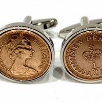 Vintage Retro 1975 half pence coin cufflinks for a 46th Birthday