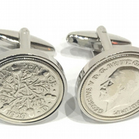 1930 Sixpence Cufflinks 90th birthday. Original sixpence coins HT
