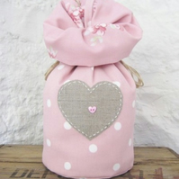 Rose Dotty and Tilly Door Stop with Applique Linen Heart