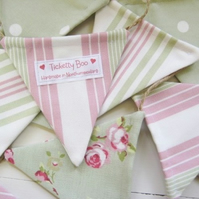 Sage and Pink Bunting on Jute String