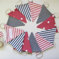 Red + Blue Bunting on Jute String