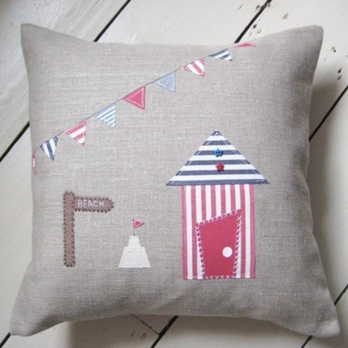 Linen Applique Beach Hut + Bunting Cushion