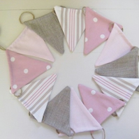 Pink + Linen Bunting on Jute String