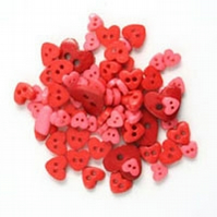 Mini Red Heart Buttons