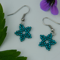 Star earrings - silver-lined teal blue