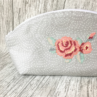 Curved Pouch with floral rose motif Great for make up or toiletries