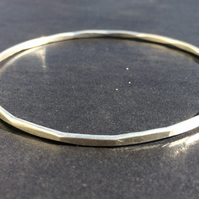 Set of 10 Essential Hammered Sterling Silver Bangle
