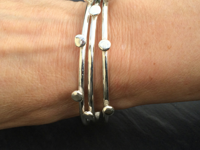 Sterling Silver Nugget Bangle