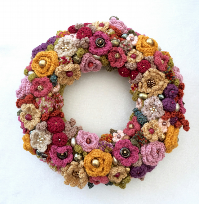 Autumn Crochet Flower Wreath