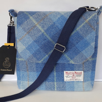 Harris Tweed Shoulder Bag Light Blue Check
