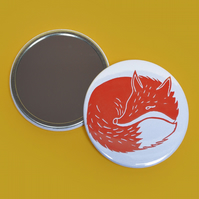 Fox Print Pocket Mirror