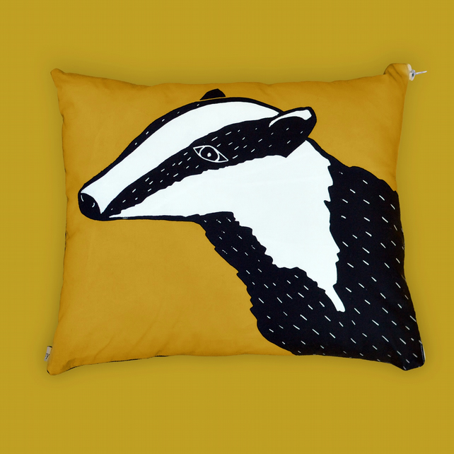 Badger Print Cushion (Yellow)