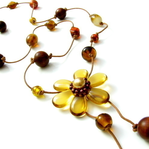 Calendula Long Knotted Flower Necklace