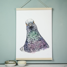 Rebel pigeon watercolour art print