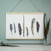 Wild Golden Feather Watercolour and Ink Art Print