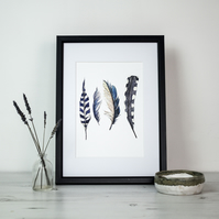 Wild blue feather print