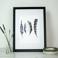 Wild blue feather watercolour and ink art print
