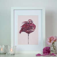 Pink Flamingo Watercolour Art Print