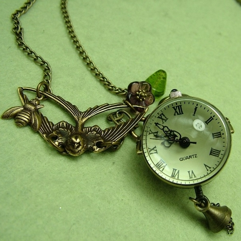 The Bird and the Bee:  Long Orb Watch necklace