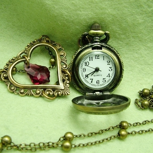 Time to Love: Long Pocket watch necklace