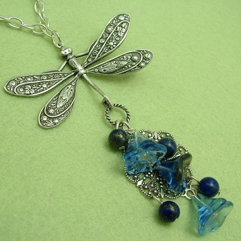 Rhapsody in Blue: Dragonfly necklace
