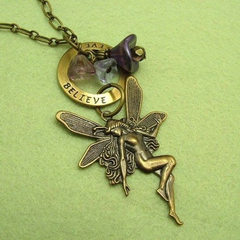 RESERVED! I believe in Fairies: Vintage style necklace