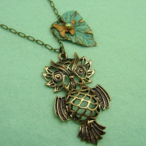 *Reserved* Wise Owl Long Necklace with FREE earrings