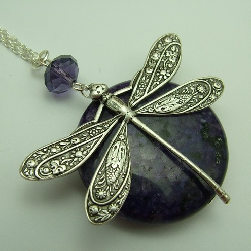 Sugilite Dragonfly Necklace