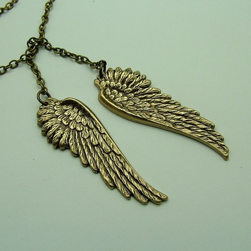 """One day I'll fly away"" Lariat wing necklace"
