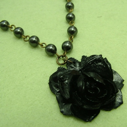 Vintage Black Rose Necklace