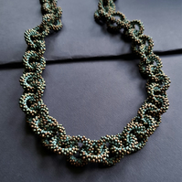 Block Colour Beaded Chain Necklace In Earthy Tones