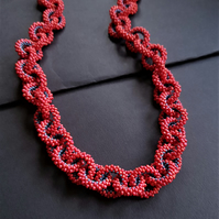 Block Colour Beaded Chain Necklace in Rich Pink and Blue