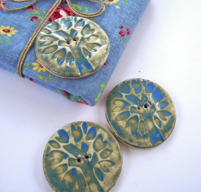 Large Ceramic Button with Blue Tree Design