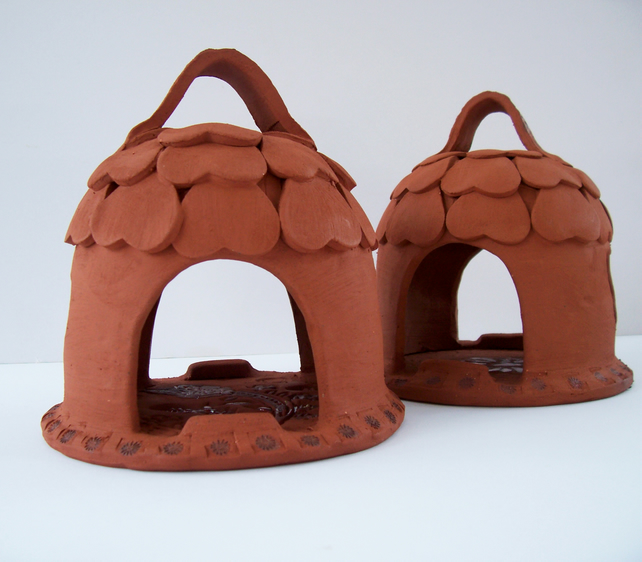 Small Terracotta Bird Feeder House