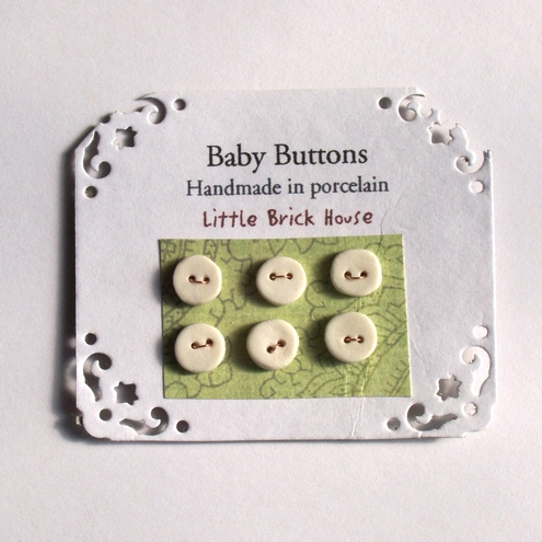 Tiny Porcelain white Baby Buttons  ~ 6 ~
