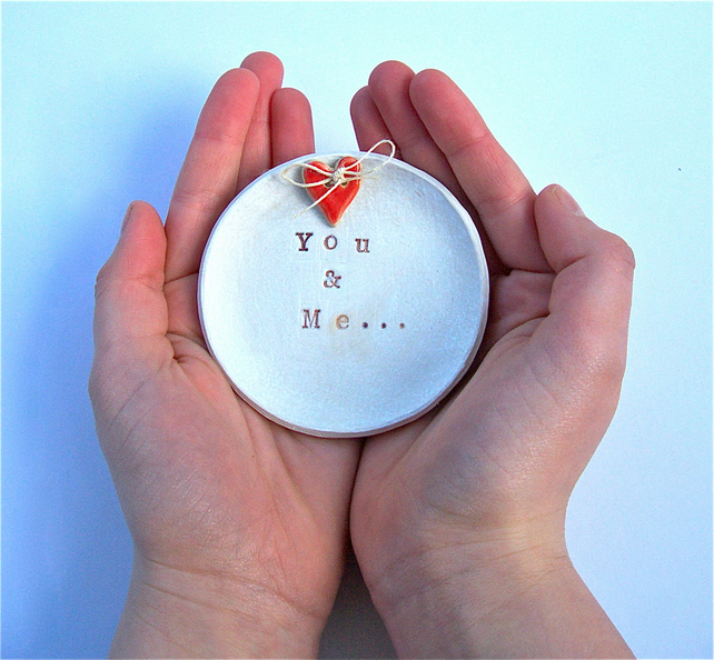 "Porcelain White ""You & Me"" ceramic Ring bowl"