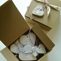 Vintage Lace and Snowflake printed ceramic heart labels