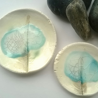 Feather imprinted ceramic stacking bowls