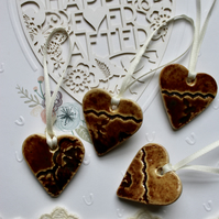 Vintage Lace impressed bronze Hearts