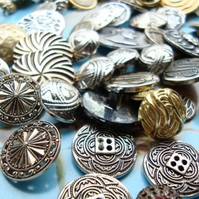 Large Mix of Metal Decorative Vintage Buttons