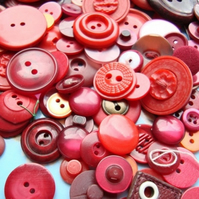 Large Mix of Red Vintage Buttons