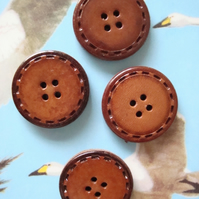 Vintage Set of 4 Leather Buttons