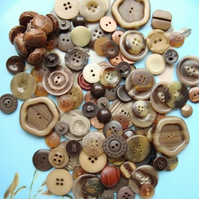 Large Mix of Scrummy Brown Vintage Buttons
