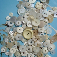 200 White Vintage Buttons
