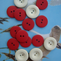 Vintage Red & White Buttons